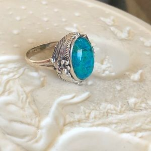 Dioptase In Chrysocolla Sterling Ring 8